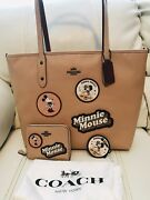 Nwt Coach X Disney Minnie Mouse Beechwood Tote Bag Wallet And Key Chain 3 Pc Total