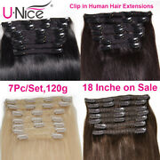 Unice Hair Clip In Human Hair Extensions Remy Hair Clipin Full Head 7pc/set 120g