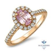 Certified 1.14ct Oval Natural Pink Sapphire Ring W/ Diamonds In 18k Rose Gold