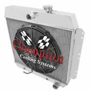 3 Row Best Cooling Champion Radiator W/ 16 Fan For 1949 - 1954 Chevrolet Cars