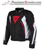 Motorcycle Jacket Dainese Avro D2 Tex Black White Red Size 46