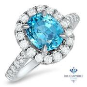 Certified 4.44ct. Oval Natural Blue Zircon Ring W/diamond Halo In 18k White Gold