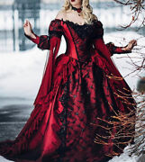 Gothic Burgundy / Black Medieval Wedding Dresses Victorian Princess Party Gowns