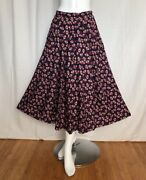 Women's Chaus Long Navy Blue And Japan Fans Print Pleated Skirt Size 8 Rare