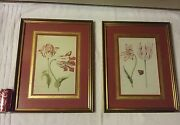 Pair Of Vintage Watercolor Prints Flowers Butterfly Texas Estate Sale