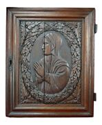 17th.c Religious French Hand Carved Oak Wood Wall Panel Door Of Virgin Mary