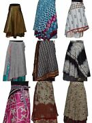 Indian Wrap Around Skirt Wholesale Lot Of 10 Pcs Printed Reversible Two Layer