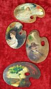Lot Of 4 Painted Palette Painted. Signed. Diverse Authors. Spain. Circa 1890