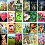 Welcome Animals And Holiday Mini Garden Flag House Flags Yard Banner Single Side