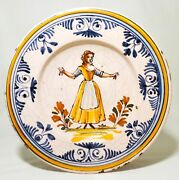 Late 18th-early 19th C Antique French Quimper Hand Dec. Figurative Ceramic Plate