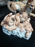 1988 Lenox Played Out Nature's Young Cougars Porcelain Figurine Mint