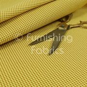 Modern Designer Houndstooth Pattern Faux Leather Yellow Vinyl Upholstery Fabric