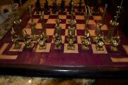 Handmade African Brass Chess Set With Camel Hide Board-absolutely One-of-a-kind