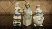 Three Christmas Lladro Figurine Ornaments Santa Clause, Mrs. Clause And Snowman