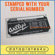 Willys-overland Sedan Coupe Passenger Car Data Plate Tag Stamped With Number