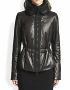 New 2490 Akris Punto 10 Lamb Quilted Leather Zip Puffer Parka Coat Black