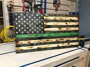 American Wooden Flag 36andtimes19.5 Burnt Natural Black Stripes Thin Green Line