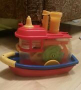 1974 Ideal Toys Think Learn Boat Ship Windup Moves Whistles Colorful Fun Vintage