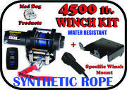 4500lb Mad Dog Synthetic Winch/mount Kit For 2013-2019 Polaris Ranger 900 Xp