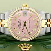 Rolex Datejust 2-tone Gold/steel 31mm Womens W/orchid Pink Dial And Diamond Bezel