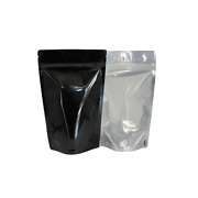 Eighth Ounce 1/8 Oz Barrier 4 Bags Gusset Black Mylar Clear Front - 2000 Count