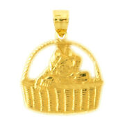 New Real Solid 14k Gold Cat In Basket Charm Pendant