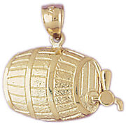 New Real Solid 14k Gold Beer Barrel Charm