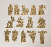 Nice Set Of 14 Stations Of The Cross - Solid Brass -254- Chalice And Church Co.