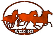 Welcome Horses Cut Out Faux Copper Finish Metal Sign 17x24