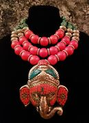 Turquoise Coral Ganesh Statement Pendant Necklace Hindu Katrox Heavy Couture Xl