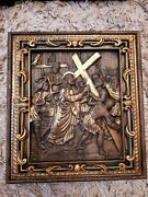 Set Of 14 Stations Of The Cross Way Of Sorrows Wood Religious Carved Icons