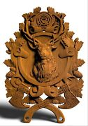Deer Animals Ornament Wood Carved Plaque Wall Hanging Art Work Hunting Decor