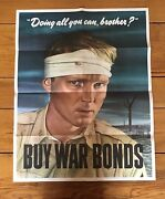 """Original Wwii Vintage Poster """"doing All You Can, Brother"""" Buy War Bonds"""