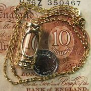 9ct Gold Genuine Single English Pre-war Bank Note In Charm And Chain Ref A