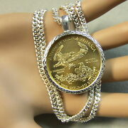 New Sterling Silver Bullion Pendant And Chain That Will Fit A Us Eagle Gold Coin
