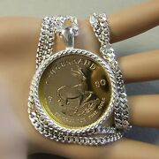 New Sterling Silver Bullion Pendant And Chain Will Fit A One Oz Gold Krugerrand