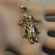 9 Ct Gold Second Hand Stone Set Movable Rag Doll Pendant