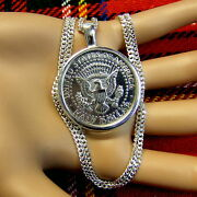 New Sterling Silver Plain Bullion Pendant And Chain For American Half Dollar Coin