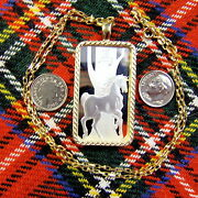 9ct Gold New Bullion Horse Pendant And Chain With One Ounce Fine Silver Ingot