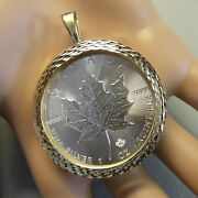 9ct Gold New Diamond Cut Pendant With One Oz Fine Silver Canadian Maple Coin