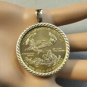 18ct Gold New Bullion Pendant That Will Fit A One Oz Gold Us. Eagle Coin