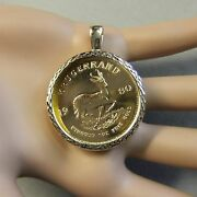 18ct Gold New Dia Cut Pendant Will Fit One Oz Fine Gold Krugerrand Bullion Coin