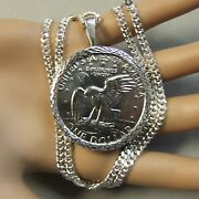 New Sterling Silver Dia Cut Bullion Pendant And Chain For American One Dollar Coin