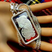 New Sterling Silver Lady Luck Bullion Pendant With 1oz Fine Silver Ingot And Chain