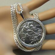 New Sterling Silver Dia Cut Bullion Pendant And Chain For Victorian 5/- Coin