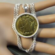 New Sterling Silver Bullion Pendant And Chain That Will Fit A Britannia Gold Coin