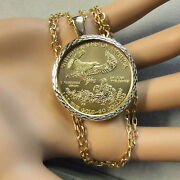 9ct Gold New Bullion Pendant That Will Fit A One Oz Gold Us. Eagle Coin