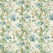 Brunschwig And Fils Daffodil And Vines Linen Fabric 10 Yards Blue Cream Multi