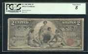 """Fr. 248 1896 2 Two Dollars """"educational"""" Silver Certificate Pcgs Very Good-8"""