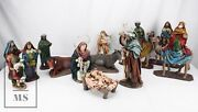 Large Handcrafted Clay Nativity Set - 13 Figures - Made In Spain - 1970andacutes